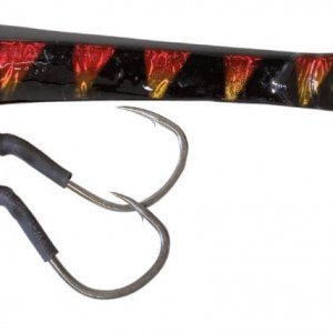 Take Jigging Lure With 2 Assist Hooks Black/orange Strips